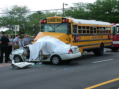 1 bus and car crash