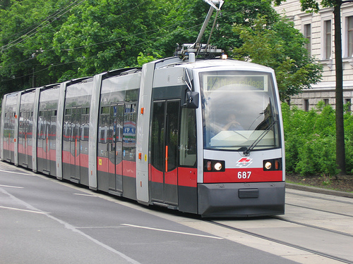 A Vienna tram on a simple reserved rights-of-way.