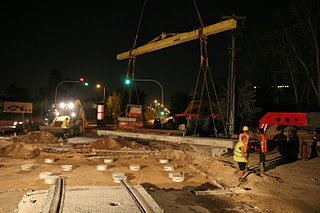 Prefab tram track = fast construction! Friends of Light Rail/Streetcar Take Note!