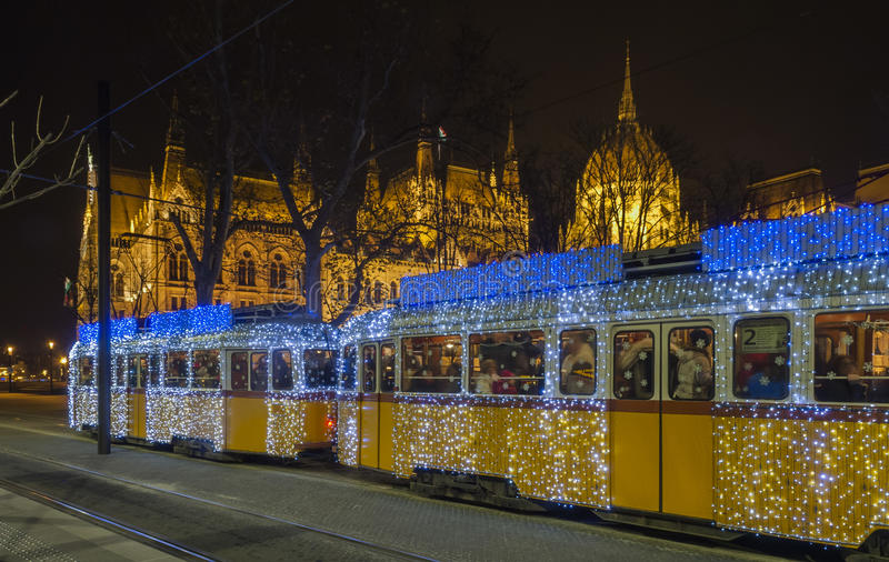Christmas trams in Budapest!