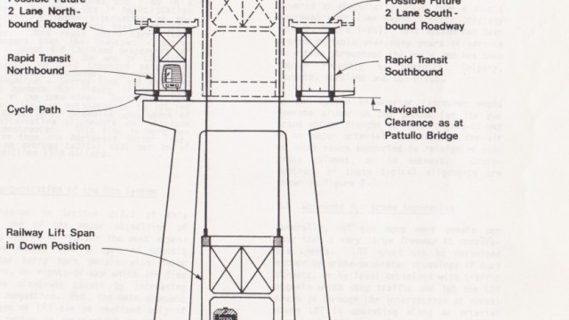 The GVRD's 1970's preliminary plan for a road/rail bridge replacing both the Pattullo and Fraser River Rail Bridges
