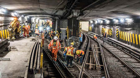 Line repair on a TTC subway line.