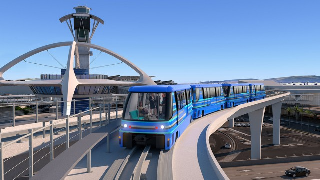 Bombardier's SkyTrain, a ruber tired people mover system.