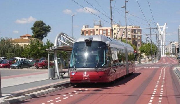 An optically guided trolley bus in Bologna, Italy.